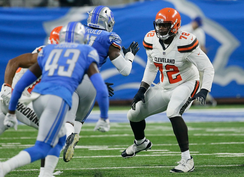 . Cleveland Browns offensive tackle Shon Coleman (72) defends during the first half of an NFL football preseason game against the Detroit Lions, Thursday, Aug. 30, 2018, in Detroit. (AP Photo/Duane Burleson)