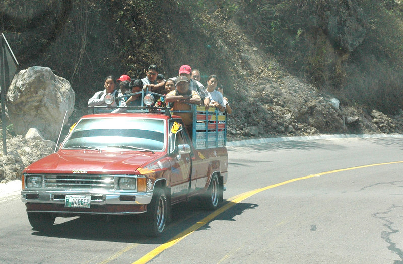 Ok...I thought these people were insane.  Everywhere we went, people were packed into the backs of trucks...a couple of days later...we were doing the same.  We called it the Gringo Express.