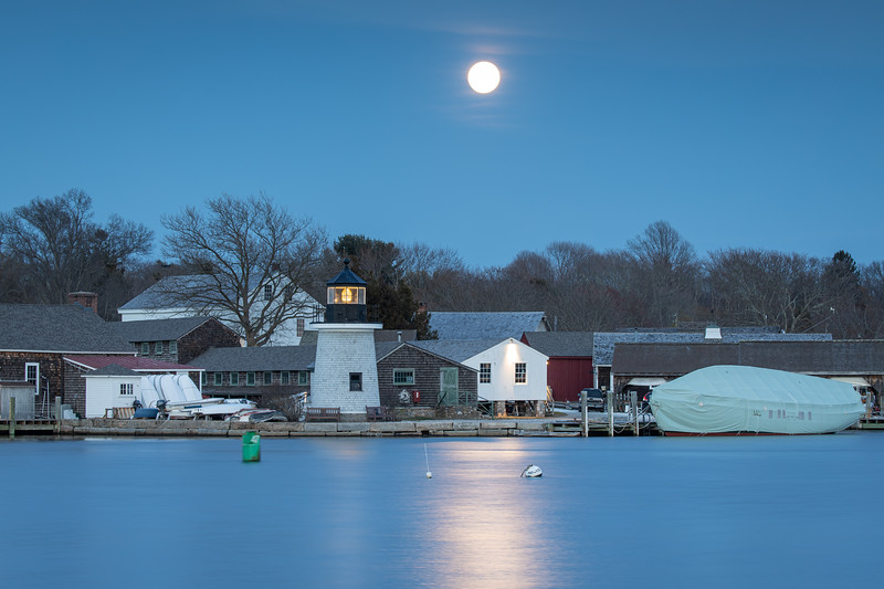Super Pink Moon over Mystic Seaport