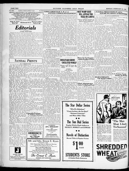 Southern California Daily Trojan, Vol. 21, No. 88, February 24, 1930