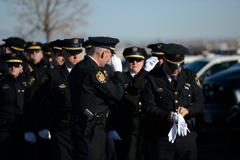 . The Douglas County Sheriff\'s making ready to march in formation to the public memorial service for Tom Clements at the New Life Church in Colorado Springs. March 25, 2013 Colorado Springs, Colorado. (Photo By Joe Amon/The Denver Post)