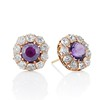 7.30ctw Victorian Amethyst and Old Mine Cut Diamond Cluster Earrings 0