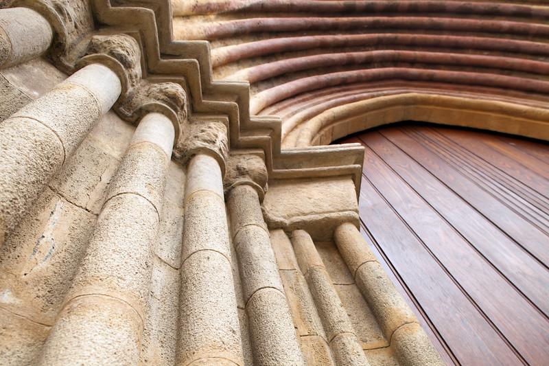 Detail of the portal of Santa Marina church, Seville, Spain