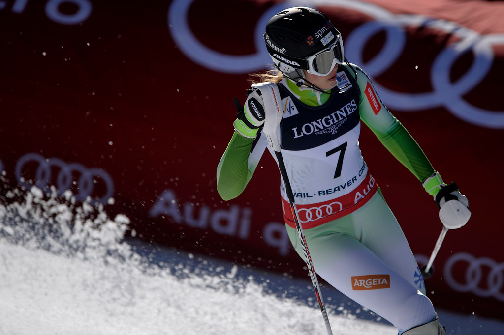 . BEAVER CREEK, CO - FEBRUARY 09: Ana Bucik of Slovenia finishes her slalom run during the ladies\' alpine combined final. FIS Alpine World Ski Championships 2015 on Monday, February 9, 2015. (Photo by AAron Ontiveroz/The Denver Post)