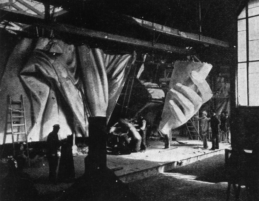 . circa 1884:  The left hand of the Statue of Liberty under construction. Sixty men have worked for almost ten years on the various parts of the statue, not including its designer Frederic Bartholdi and his assistants.   Original Publication: From The Strand Magazine.  (Photo by Hulton Archive/Getty Images)