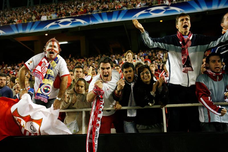 Sevilla FC fans celebrating a goal. UEFA Champions League first knockout round game (second leg) between Sevilla FC (Seville, Spain) and Fenerbahce (Istambul, Turkey), Sanchez Pizjuan stadium, Seville, Spain, 04 March 2008.