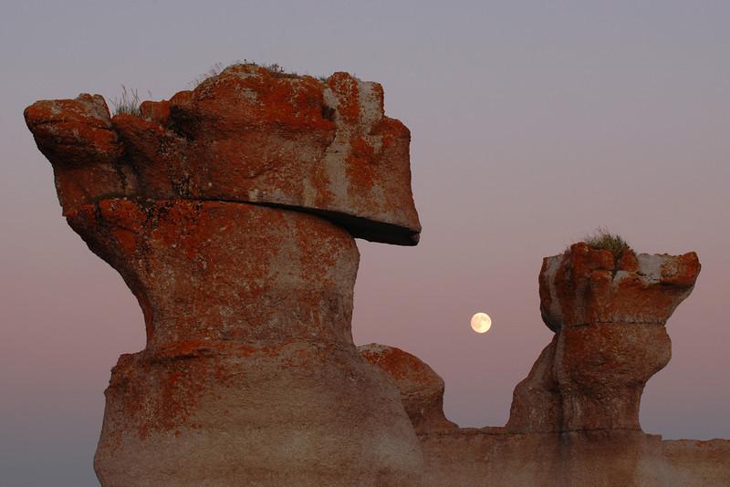 Monolithes au lever de lune