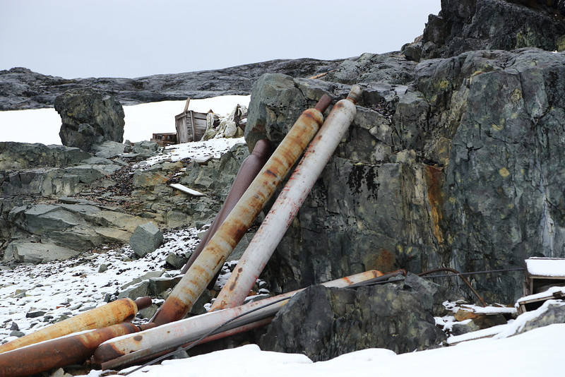 "South of the Antarctic Circle, Detaille Island, British scientific base ""W"" of the late 1950s at 66˚52'S, 66˚48'W 