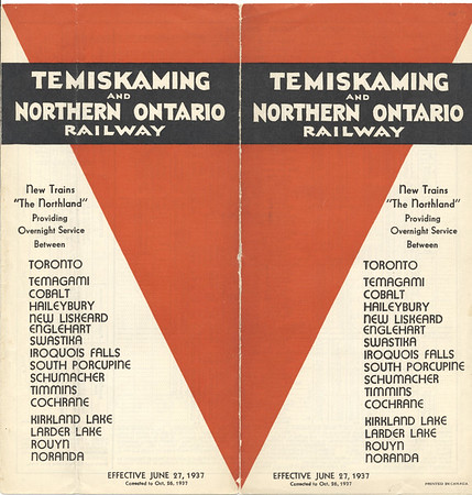 June 27 1937 timetable Temiskaming and Northern Ontario Railway