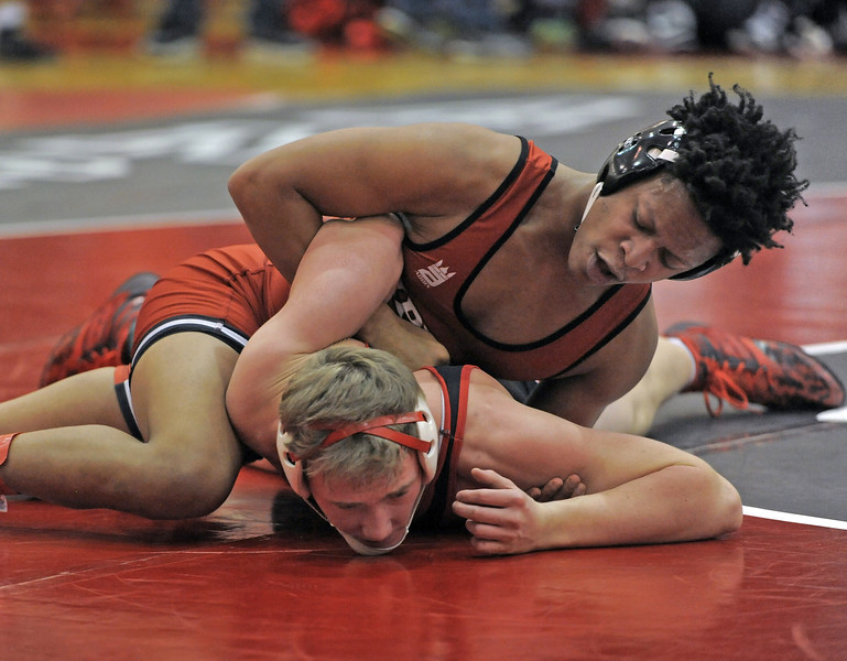 Latrell Kindle of Chippewa Valley wins in the 189 class over C.J.Quinn of Anchor Bay. THE MACOMB DAILY PHOTO GALLERY BY DAVID DALTON