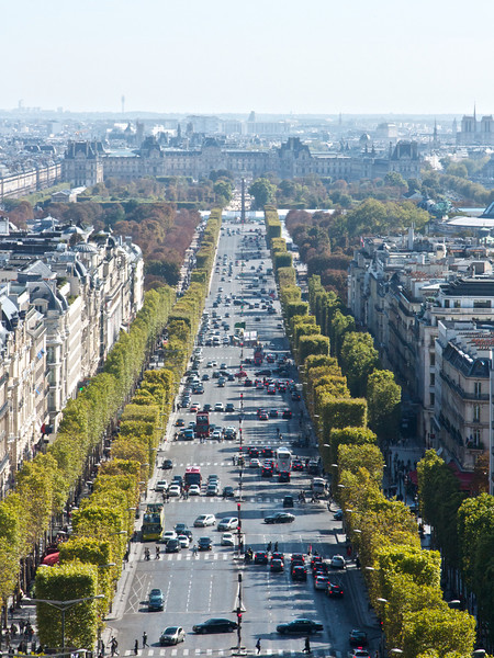 Looking down Champs de Elysee from the top of Arc de Triomphe