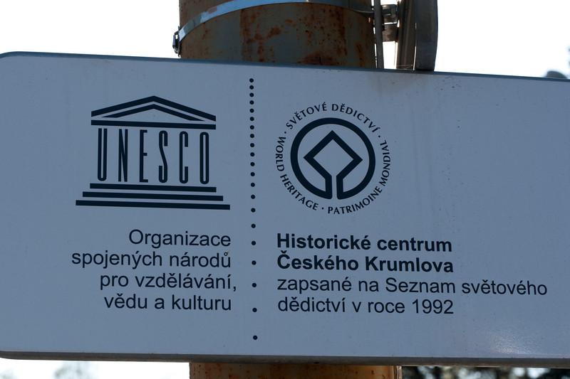 UNESCO sign in Cesky Krumlov, Czech Republic