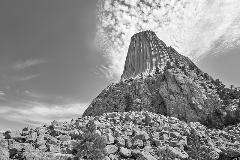Devil's Tower, Wyoming, black and white