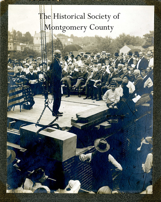 . This photo from the Historical Society of Montgomery County shows James A. Welsh at the cornerstone laying of the James A. Welsh School in Norristown in 1904.