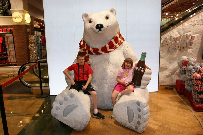 Aaron & Kyra with the Coca Cola bear at the Coca Cola store in Las Vegas