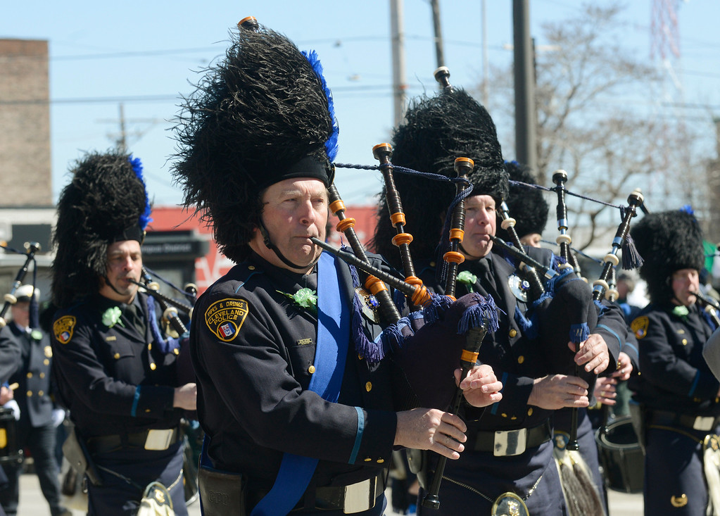 . Maribeth Joeright/MJoeright@News-Herald.com<p> The Cleveland Police Pipe and Drum band take part in the 147th annual St. Patrick\'s Day Parade, March 17, 2014.