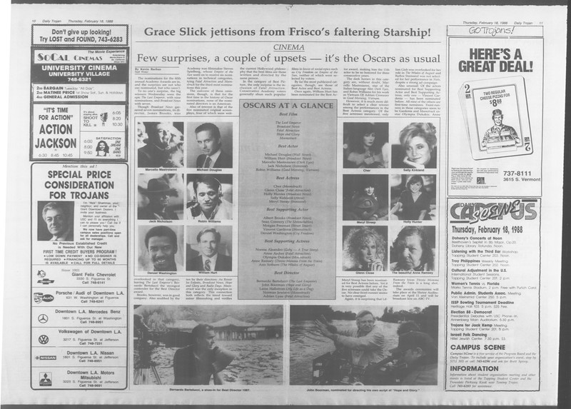 Daily Trojan, Vol. 106, No. 26, February 18, 1988