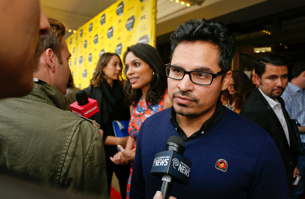 """. Michael Pena arrives at the North American premiere of his film \""""Cesar Chavez\"""" during the SXSW Film Festival on Monday, March 10, 2014, in Austin, Texas. (Photo by Jack Plunkett/Invision/AP)"""