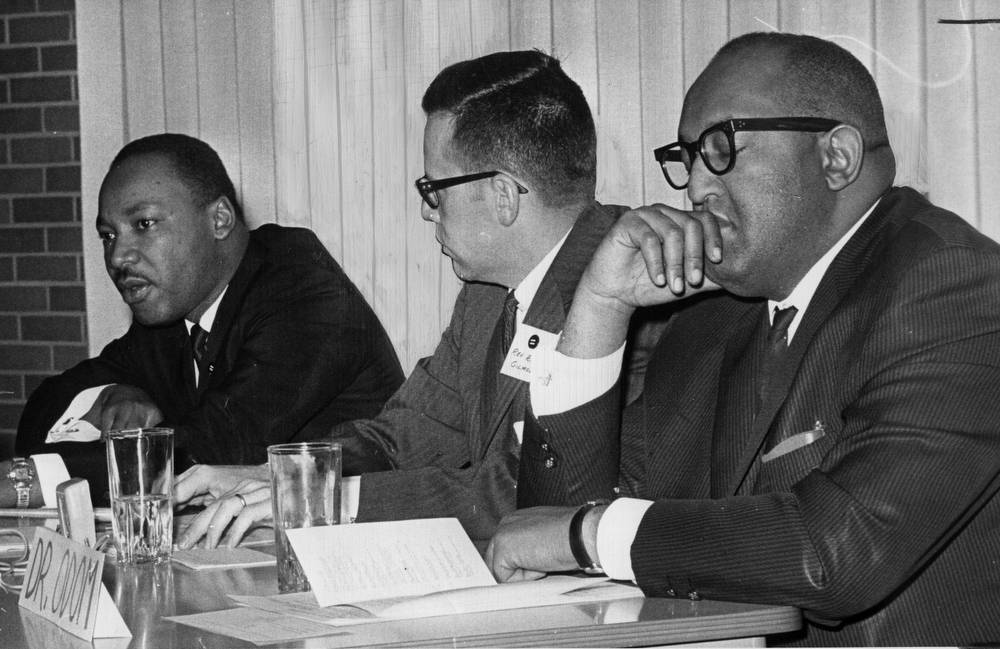 Description of . Rev. Martin Luther King Jr., left ,with Rev. Robert Gilmore, center, and  rev.  L. Sylvester Odom in Littleton, CO. Jan. 25, 1964