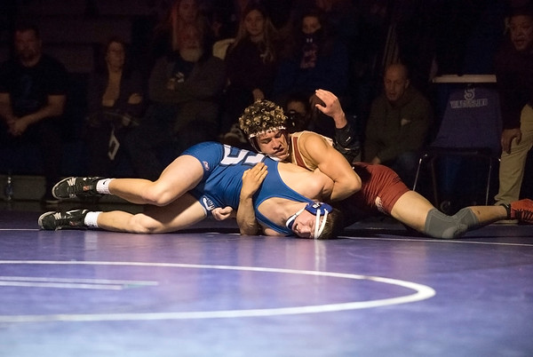 02/10/20 Wesley Bunnell | StaffrrSouthington defeated New Britain at home on Wednesday night. Southington's Billy Carr vs Isaiah Medina in the 182 lb match.