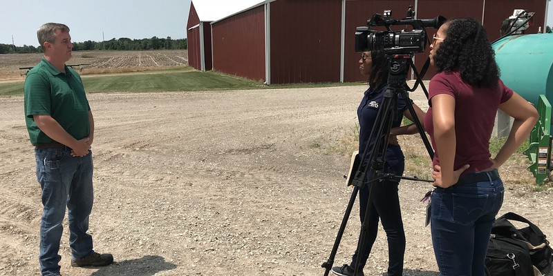 Eaton County Farm Bureau member Duane Smuts interviewed by WLNS TV 6 following Gov. Whitmer's visit.