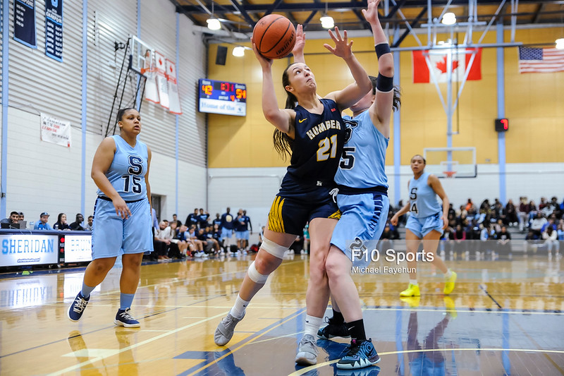 TORONTO, CANADA - Feb 15: during OCAA Basketball - Humber Hawks vs Sheridan Bruins at Sheridan College Athletic Centre. Photo: Michael Fayehun/F10 Sports Photography