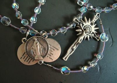 aurora borealis rosary in crystal violet
