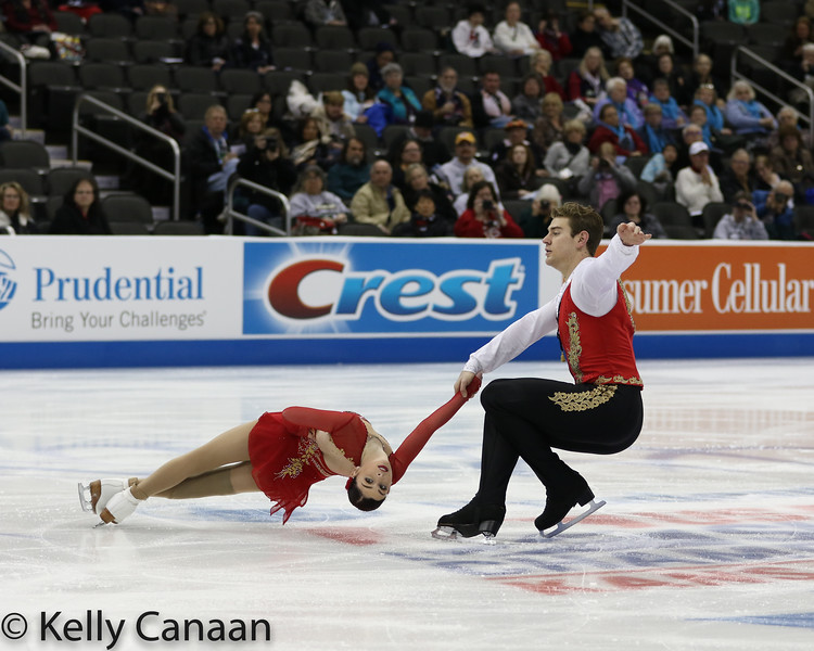 Haven Denney and Brandon Frazier perform a death spiral during their short program in Kansas City.