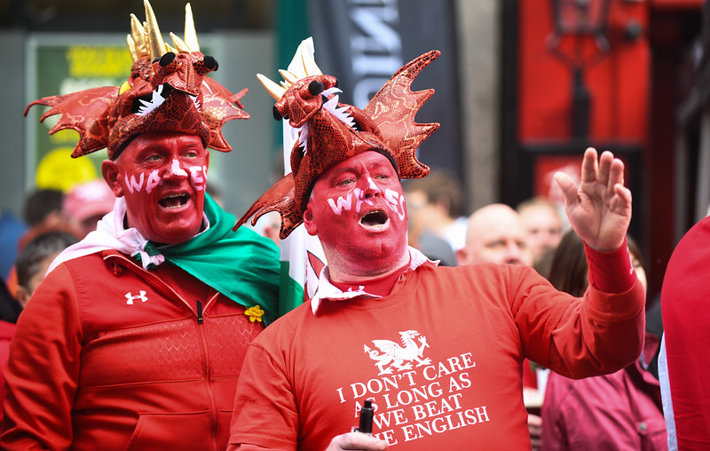 Wales v England Six Nations, 2019 Cardiff, 23rd February 2019.  Pictured are fans in Cardiff city centre before Wales' Six Nations game against England.