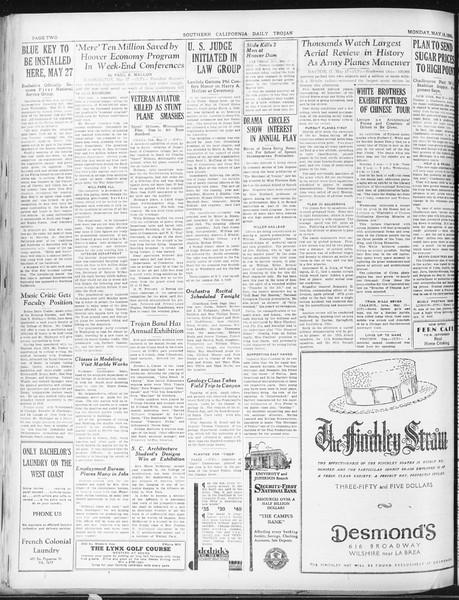 Daily Trojan, Vol. 22, No. 145, May 18, 1931