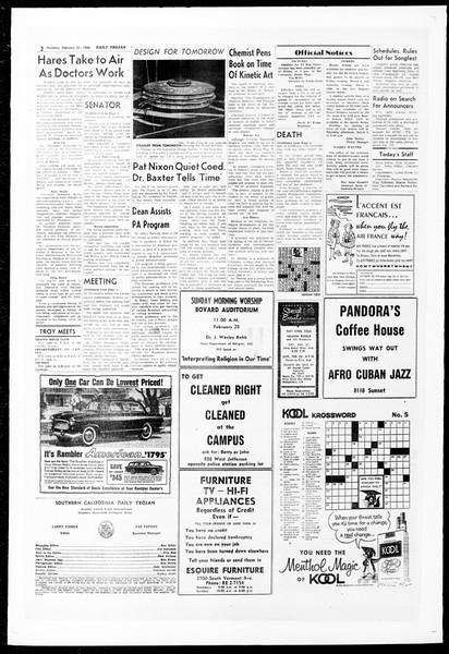 Daily Trojan, Vol. 51, No. 72, February 25, 1960