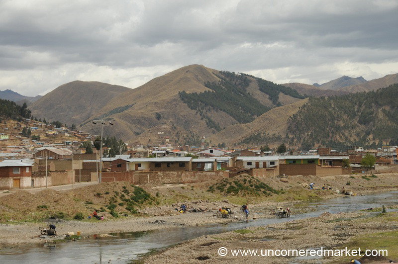 Washing in the Stream - Puno, Peru to Copacabana, Bolivia