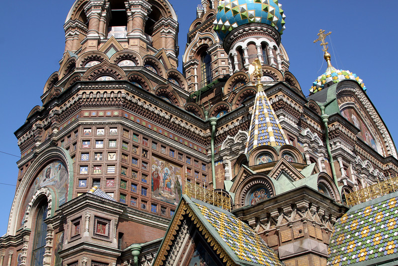 Close up view of the Church of the Saviour on Spilled Blood showing some of the exterior mosaics.