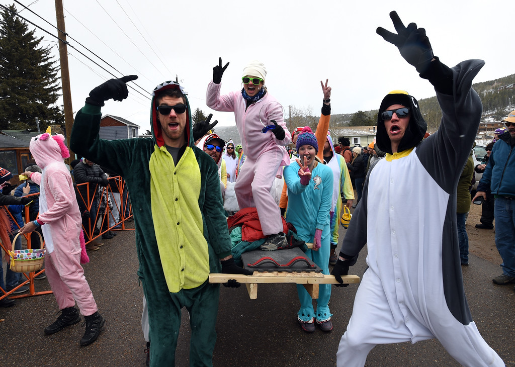 . This coffin racing team doesn\'t mine finishing second  on Saturday during 2018 Frozen Dead Guy Days in Nederland. The festival continues on Sunday. For more photos, go to dailycamera.com. Cliff Grassmick  Photographer  March 10, 2018