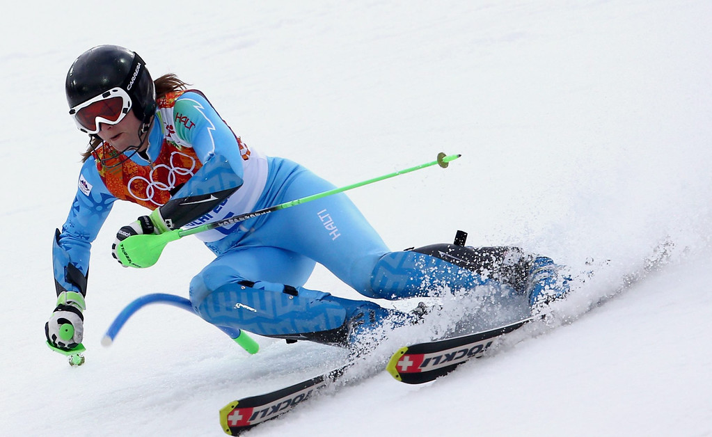 . Tina Maze of Slovenia in action during the first run of the Women\'s Slalom race at the Rosa Khutor Alpine Center during the Sochi 2014 Olympic Games, Krasnaya Polyana, Russia, 21 February 2014.  EPA/KARL-JOSEF HILDENBRAND