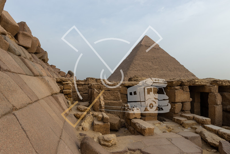 View on the Pyramid of Khafre with the Funerary Temple of the Pyramid of Menkaure in the foreground