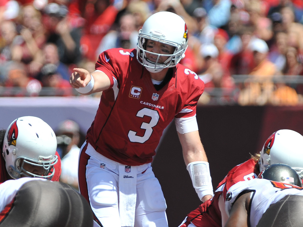 . TAMPA, FL - SEPTEMBER 29:  Quarterback Carson Palmer #3 of the Arizona Cardinals  directs play against the Tampa Bay Buccaneers September 29, 2013 at Raymond James Stadium in Tampa, Florida. (Photo by Al Messerschmidt/Getty Images)