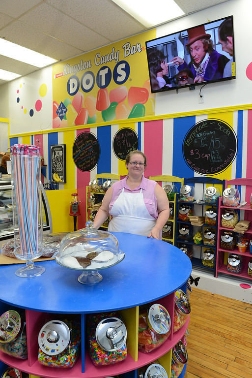 . Tania Barricklo-Daily Freeman Diane Reeder , owner of Kingston Candy Bar, stands in her newly openend store at 319 Wall St in uptown Kingston.