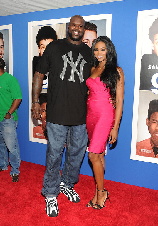 """. Retired basketball player Shaquille O\'Neal and former Miss USA, Nana Meriwether attend the premiere of \""""Grown Ups 2\"""" at the AMC Loews Lincoln Square on Wednesday, July 10, 2013 in New York. (Photo by Evan Agostini/Invision/AP)"""