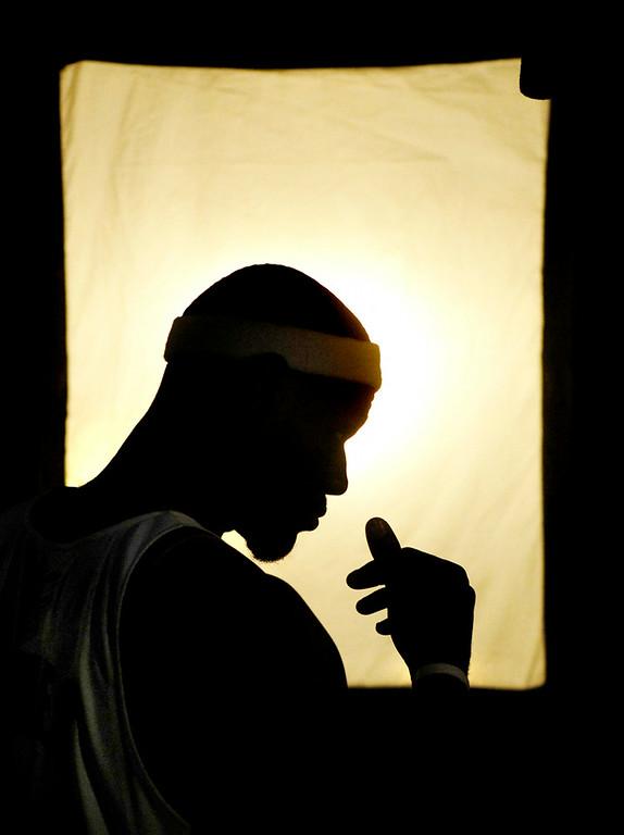 . Ken Blaze/KBlaze@News-Herald.com Lebron James films a spot for ESPN/ABC during Cavs media day Monday at Quicken Loans Arena