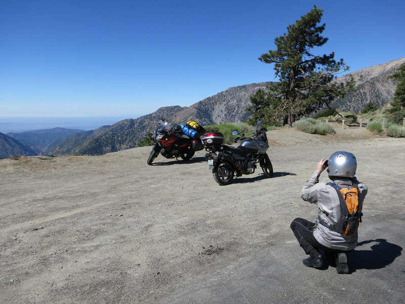 Taking a picture of Ted taking a picture of the bikes at an Angeles Crest overlook.