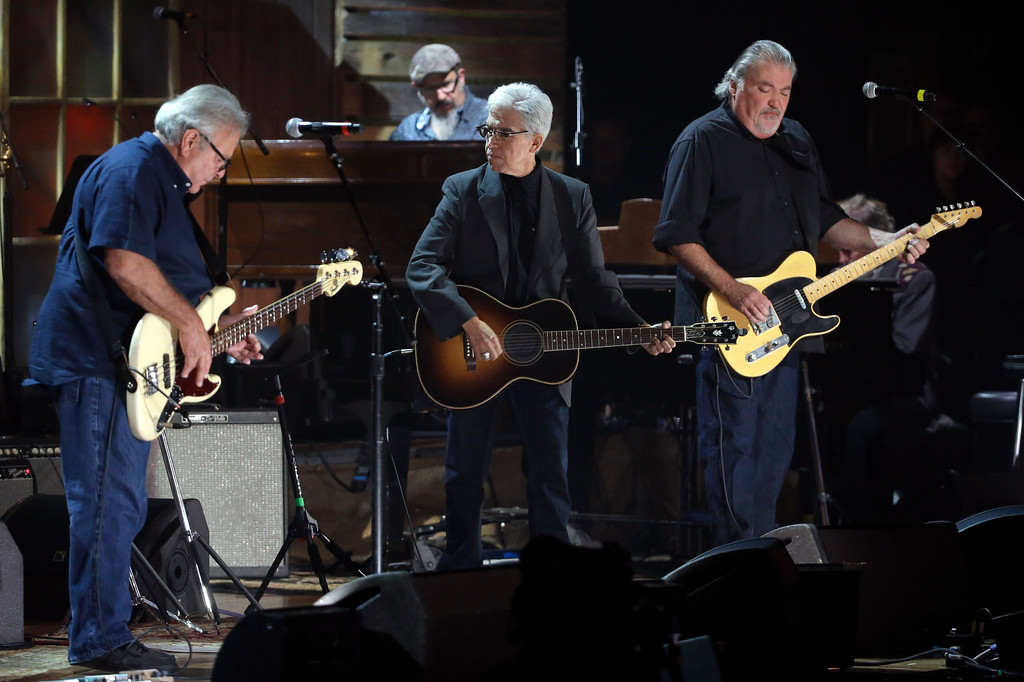 . Los Lobos performs at the Americana Music Honors and Awards show Wednesday, Sept. 16, 2015, in Nashville, Tenn. Los Lobos will perform at Music Box Supper Club in Cleveland on March 31 and April 1. For more information, visit musicboxcle.com.  (AP Photo/Mark Zaleski)