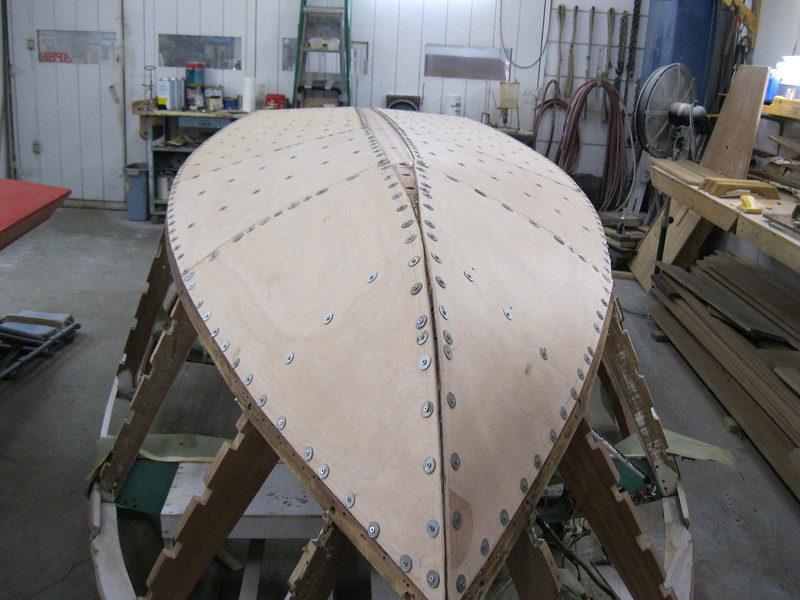 Front view of bottom plywood installed and held in place with temporary fasteners.