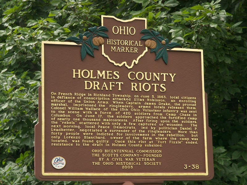 Ohio historical marker for the Holmes County Draft Riots, quelled by Col. William Wallace.