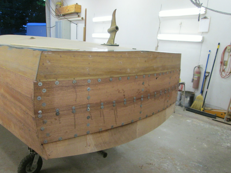 First two transom planks epoxied in place, .