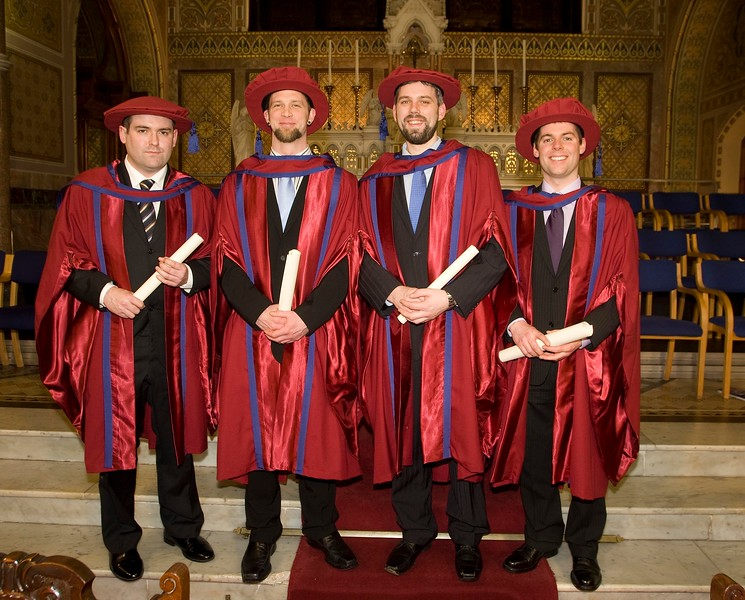 4/1/2012. News. Free to use image. Waterford Institute of Technology (WIT) Graduation. Pictured are Stephen John Dowling, Tramore, Laurence Fitzhenry, Enniscorthy, Richie Ryan, Kilkenny and Michael Kinsella, Kilkenny who were conferred Doctors of Philosophy. Photo Patrick Browne