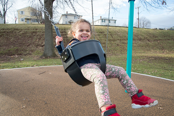 01/10/20 Wesley Bunnell | StaffrrKaishia Thompson, age 2, enjoys the swings on Friday January 10th at Chesley park while taking advantage of the mild weather with her mother Kaishia.