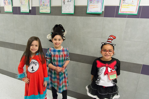 03/01/19 Wesley Bunnell | Staff Arianna Garcia, Camila Arango Lilyana Correa outside of their classroom at Gaffney Elementary School dressed as characters from Dr. Seuss books on Friday March 1st in observance of Read Across America Day and Dr. Seuss's birthday which is annually celebrated on March 2nd.