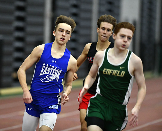 2/1/2020 Mike Orazzi | StaffrBristol Eastern's Ben Johnsky in the 600 meter run during the CCC Indoor Track & Field Championships at the Floyd Little Athletic Center in New Haven on Saturday.