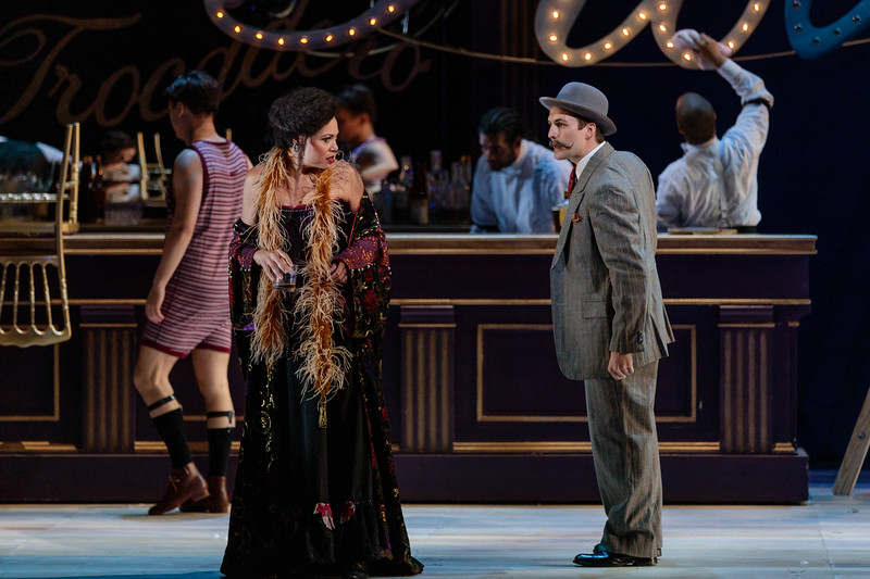"Alyson Cambridge as Julie La Verne and Charles H. Eaton as Max in The Glimmerglass Festival's 2019 production of ""Show Boat."" Photo Credit: Karli Cadel/The Glimmerglass Festival"